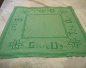Vintage Tablecloth, Gingham Tablecloth, Thanksgiving Tablecloth, Give Us This Day Our Daily Bread, Green, Embroidery, Religious Tablecloth