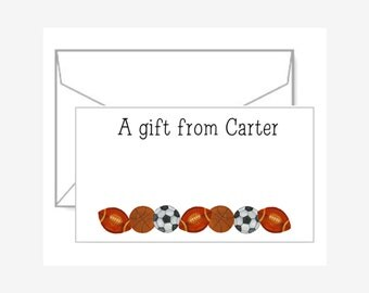 Personalized Gift Enclosure Cards with Mini-Envelopes - Sports