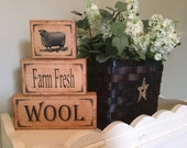 "Sheep Wood Blocks Decoupage Sheet Easter Printable DIY Instant Download Primitive Prim Modge Podge Shelf Sitters Chunky Stackable 2"" X 4"""