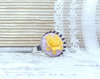 Rose Cameo Ring Summer Ring Yellow Rose Ring Adjustable Ring Yellow Floral Ring Gift Under 10