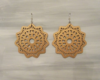 Hand Painted Laser Cut Gold Earrings