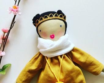 handmade cloth doll, fabric doll, black hair, blue eyes, mustard linen dress, scarf pom pom. Gift for girls, doll, toddlers, play