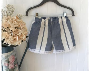 Baby toddler girls blue and white linen shorts, blue and white linen baby bloomers, nautical style linen shorts bloomers for girls, striped