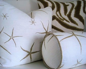 Choose a Pattern.... Sea Stars / Animal Print - Decorative Designer  Pillow Cover Taupe /Off White Throw/Lumbar Bolster  Pillow Covers