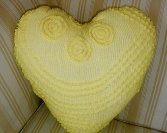 Simply Sheila hand made heart shape pillow from vintage chenille bed spread