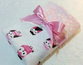 "READY TO SHIP - Christmas Sale -  Minky Baby Blanket - Sleepy Owl with Light Pink Bubble  Dot Minky - Crib  Size 30"" x 36"""