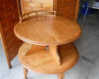 Vintage Bassett Round Bi-level end table