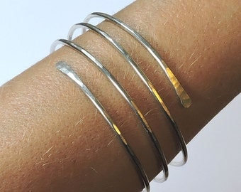 Wide Silver Bangle - Open End Layered Bangle Bracelet - German Silver Bangle - Nickel Silver Bangle - Hammered Bracelet - Made to Order