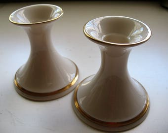Pair of Lenox Candlesticks with Gold Trim, Lenox Candle Holders, Lenox Porcelain, Ivory Colored Porcelain, Lenox