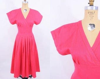 50% OFF SALE // 1980s dress vintage 80s raspberry linen surplice sun dress S/M W 27""