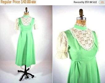 "50% OFF SALE // 1960s bib dress | lime green polyester lace bib babydoll dress | W 30"""