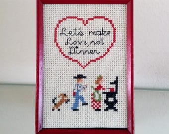 County Kitchen Art Lets Make Love Not Dinner Cross Stitch Red Frame