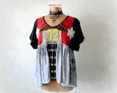 Red Black Women's Tunic Artsy Boho Clothes Empire Waist Top Grunge Clothing Rocker Chic Ruffled Babydoll Top Gypsy Fashion M L XL 'PAULINA'