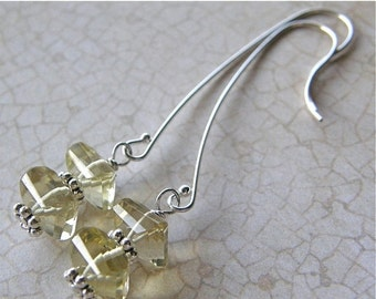 20% OFF Lemon Quartz Drop Earrings, Golden Yellow Sterling Silver Earrings, Long Gold Earrings