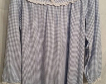 Vintage Lanz of Salzburg nightgown, medium,  blue gingham