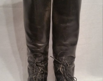 Vintage riding boots, black leather, size 9, womens, equestrian