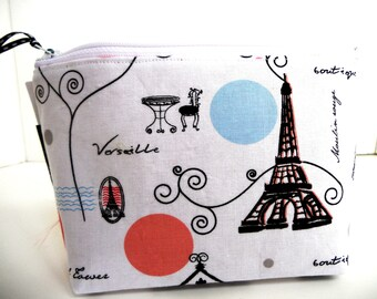 Paris Art Deco MakeUp Bag,Coin Pouch,Organizer, Cell Phone Pouch, BridesMaid Gifts