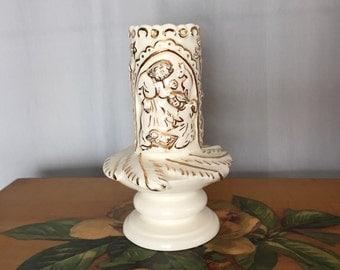 Nativity Candle Holder Ceramic Pillar White Cream Gold Vintage Christmas Decor Holiday Three Wisemen Jesus Holy Family
