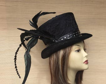 Black Straw Top Hat, Women's Straw Hat, Alice in Wonderland, Mad hatter Tea Party, Leather and Lace