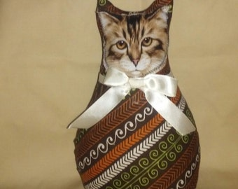 Cat, Kitten, Cloth Doll, Room Accent, Valentines Day, Mothers Day, Stripes