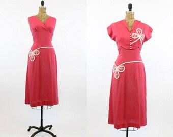 50s Dress Vicky Vaughn Medium / 1950s Dress and Matching Bolero Jacket  /  Watermelon Salad Dress