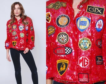 Vintage 80s SEQUIN Jacket with Racing Car PATCHES Sequin Pink Bomber Jacket Car Emblem Jacket