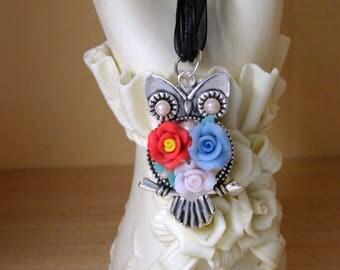 WEDDING ROSE OWL Pendant Necklace, Owl Lover Gift, Handmade Pendant, Pearls, Roses