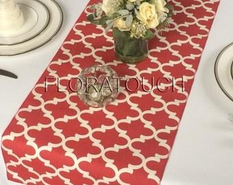 Moroccan Quatrefoil Lattice In White And Red Table Runner Wedding Table  Runner