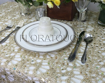 Champagne Lace Tablecloth Overlay Sequin Tablecloth Alice Metallic Lace