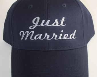 Custom Baseball Hat- Just Married; Wedding; Newlywed; Bride; Groom; Honeymoon