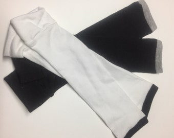 2 Pair Handmade Baby Toddler Child Leg Warmers / Arm Warmers - Black & White and a Shade of Gray