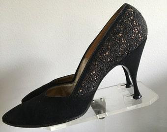 Vintage 50s Black Faux Suede Illusion Lace Stilletos High Heels Pumps Shoes US Size 6.5 Narrow