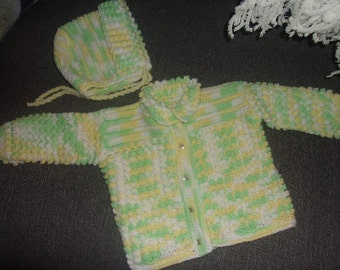 Baby Cardigan Sweater and Hat