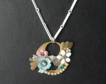 Steampunk Necklace. White Enmaled Chain and Floral Pendant with Rhinestones and Faux Pearls.