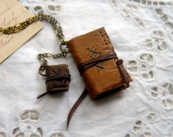 Wearable Library - Miniature Wearable Books, Set of 2, Vintage Leather, OOAK