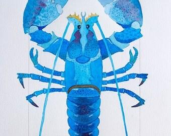 Colorful Blue and Green, Aqua Coastal Beach Blue Lobster Watercolor by Clair Hartmann Original