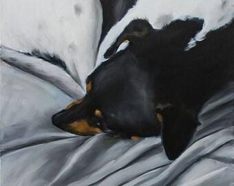 """STUDIO SALE Jack Russell Terrier, Rat Terrier Sleeping, Large 36"""" x 48"""" Original Oil Painting by Clair Hartmann"""