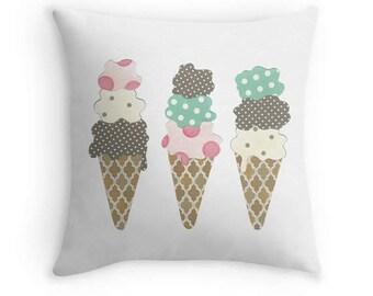 Ice Cream Cones Throw Pillow with Insert, 16x16, Chocolate, Strawberry, Pistachio, and Vanilla, Nursery or Childrens Decor