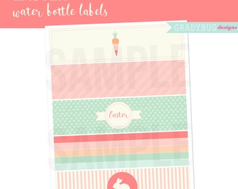 Easter Water Bottle Labels, Printable Drink Wrappers, Easter Party, Bunny Printable, Spring Printable, Stripes, Easter, Instant Download