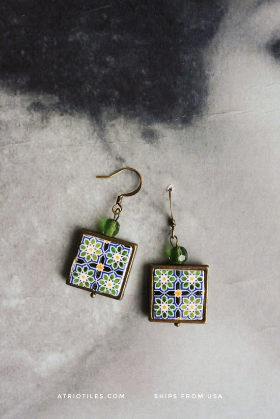 Earrings Portugal Tile Azulejos Portuguese Antique Green Geometric  Ilhavo - Arista Zellige Majolica Moroccan  Gift Box Ships from USA 1053b