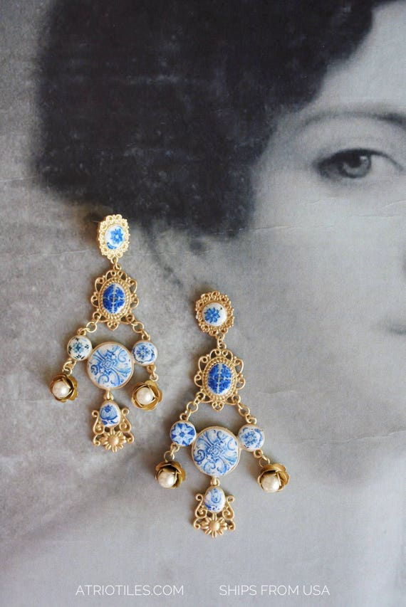 Portugal Antique Azulejo Tile Chandelier Earrings  - Featured in VOGUE - Gift Boxed Baroque