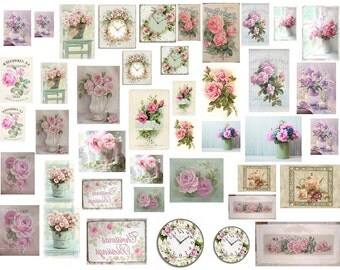Dollhouse Miniature Shabby Chic Decals 1:12 Scale Signs Pictures and Plaques