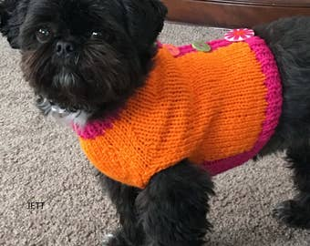Button Up Back Dog Sweater, Hand Knit Pet Sweater, Size XSMALL, Sweater Vest Orange