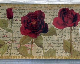 """Decoupage Glass Tray """"Red Roses"""""""