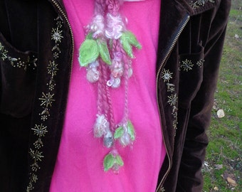 super soft handknit enchanted forest scarf lariat - soft bunny faerie neck sash