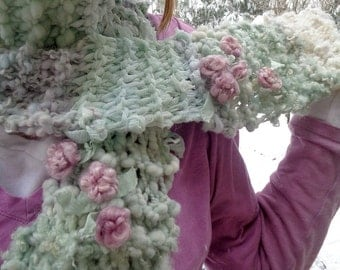 hand knit scarf long handspun art yarn scarf gypsy patchwork boho roses scarf - soft color story scarf