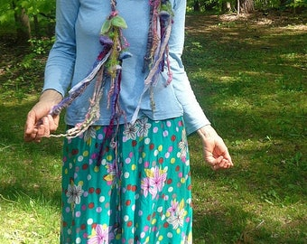 scarf lariat fantasy fiber art yarn braid garland scarf adornment -  wild fairy bell garden