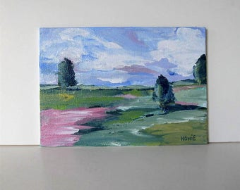 "Original pink and green Impressionist landscape painting on canvas, small Impressionist art canvas, Expressionist, 5"" x 7"", gift idea"