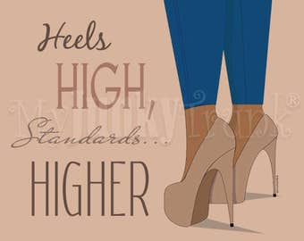 Higher Standards African American Woman Shoe Lovers Art print