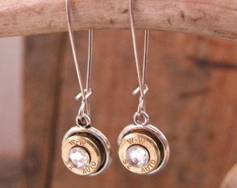 Bullet Jewelry - Bullet Earrings - Gumdrop Bullet Earrings - Petite 32 Auto / 380 / 9mm Bullet Kidney Wire Dangles - Super Light, Darn Cute
